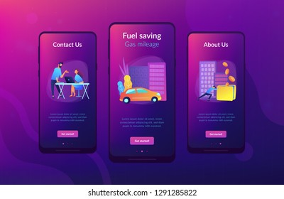 People losing money by using gas fuel cars. Fuel saving and gas mileage landing page. Fuel economy and efficient green eco friendly engine technology. Mobile UI UX GUI template, app interface.