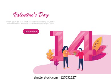 People in Love Landing Page. Valentines Day Banner with Flat Characters and Hearts. Website Template. Vector illustration.
