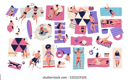 People lying on towels or blankets on beach or seashore and sunbathing, reading books, talking. Men, women and children relaxing at summer resort. Recreational activities. Flat vector illustration.