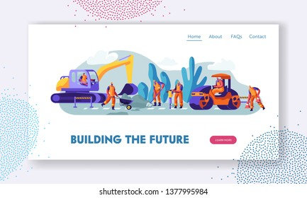 People and Machinery at Road Repairing Work Concept. Excavator and Steamroller Heavy Vehicles Making Asphalt Maintenance in City Website Landing Page, Web Page Cartoon Flat Vector Illustration, Banner