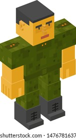 People made of cubes. Isometric 3d people.