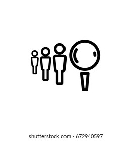 People and magnifier concept, icon, linear sign vector illustration of Eps10