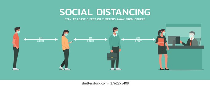 people maintain social distancing to prevent virus spreading and transmission in office and bank, man and woman keep distance from other, new normal concept, flat vector illustration