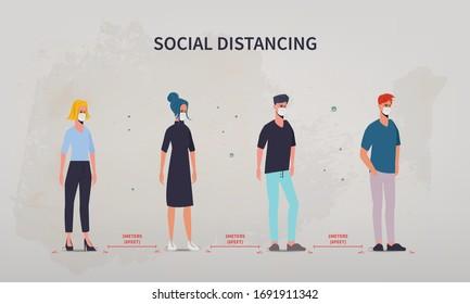 People maintain social distancing. Stop covid-19 coronavirus. Coronavirus outbreak infographic.