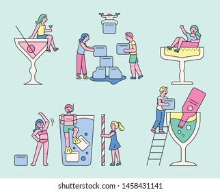 People making a cool summer drink. tiny character concept. flat design style minimal vector illustration.