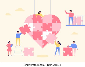 People are making huge hearts with puzzle pieces. vector illustration flat design