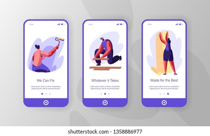 People Making New Renovation Mobile App Page Onboard Screen Set. Woman Paint Wall with Roller and Gluing Wallpaper. Man Lying Parquet Floor Board Website or Web Page. Flat Cartoon Vector Illustration