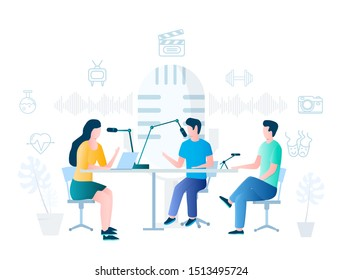 People making podcast in radio studio, vector illustration. Podcasting, broadcasting, online radio concept for web banner, website page etc.