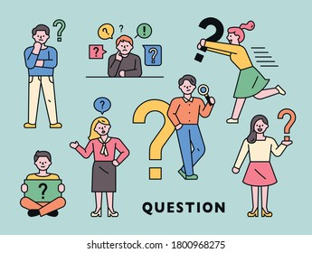 People are making a thinking gesture while holding a question mark icon. flat design style minimal vector illustration.
