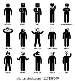 People Man Emotion Feeling Expression Attitude Stick Figure Pictogram Icon