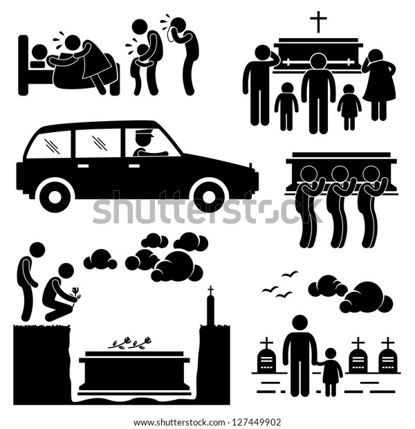 People Man Funeral Burial Coffin Death Dead Died Stick Figure Pictogram Icon