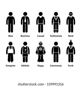 People Man Human Character Type Business Casual Punk Nerd Gangster Athletic Hippy Commoner Fashionista Stick Figure Pictogram Icon