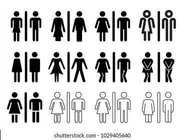 People man and lady / woman toilet WC boy or girl restroom wc flat icon pictogram symbol sign clipart Haste Hurry Gender Funny wc door plate symbols. Vector eps icon black silhouette Toilets glyph