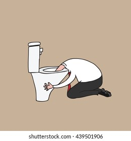 People man puking in toilet cartoon drawing