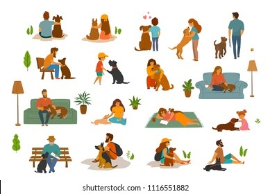 people man woman, adults and children with dogs scenes set, humans and their beloved pets at home, in the park, traveling together. Best friends love cute cartoon graphics