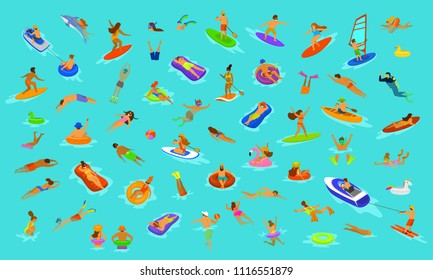 people man and woman, girls boys swimming in floats mattress, diving into sea, water, pool or ocean. Summer beach vacations scenes constructor with fun cartoon humans collection over blue background
