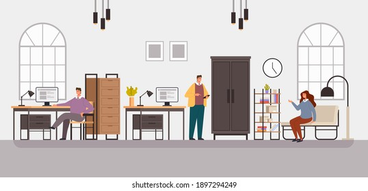 People man woman office workers character working. Office life concept. Vector flat graphic design simple illustration
