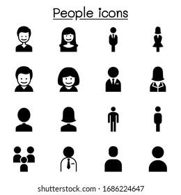 People, man, woman, person icon set vector illustration graphic design