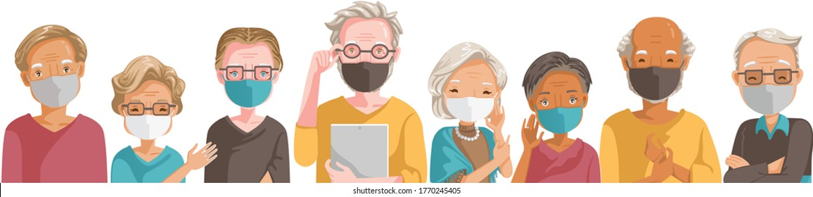 People mask vocation of different professions. Elderly mask group. New Normal concept. Emotions, feelings be smile, Laugh face of the elderly. Different nationalities are different. Vector