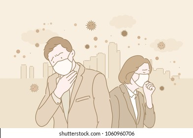 People in masks because of fine dust. hand drawn style vector doodle design illustrations.