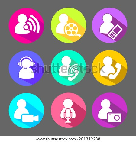 People Media Symbols Flat Icons Set Stock Vector Royalty Free