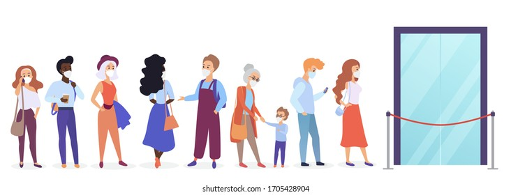 People in medical face masks in queue line preventing coronavirus flat cartoon vector illustration. Waiting for store open, keep distance, lack of products, goods scarcity, shops work limitation