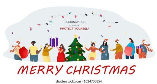 People in Medical Mask Celebrating Christmas and New Year during Quarantine.Christmas Party in Covid 19.Winter Holidays during Coronavirus.Characters in Santa Hats with Tree.Flat Vector Illustration
