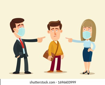 People in medical masks condemn a person without a protective mask on face. An irresponsible person ignores public rules during a viral disease epidemic. Vector illustration, flat cartoon, isolated.