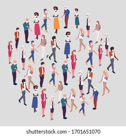 People in medical masks. isometric business people vector 3D set. Businessman and business woman, business clothes.