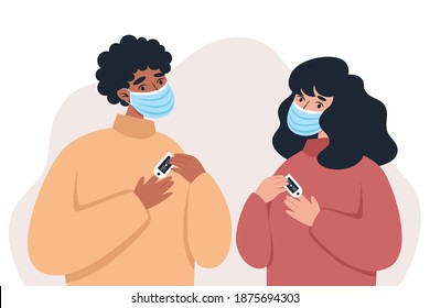 People in medical masks using pulse oximeter device