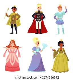 People in medieval costumes - isolated set of cartoon prince and princess characters in royal crown, dress or costume. Kings and queens - flat vector illustration.