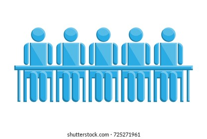 People in meeting blue business symbol, vector