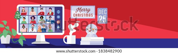 People meeting online via video conference on a computer on Christmas holiday. Vector