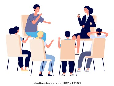 People meeting. Psychotherapy training, business lecture or conference. Persons sitting in circle and talking. Cartoon man woman support group vector concept