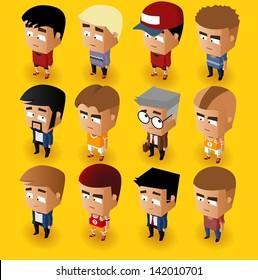People Men Isometric Set. Vector Illustrator