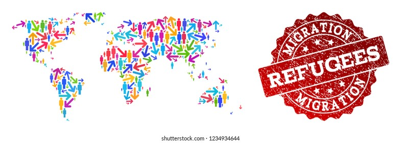 People migration traffic collage of mosaic map of world and corroded seal. Mosaic map of world is constructed with different bright colored arrows and persons.