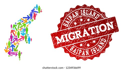 People migration traffic combination of mosaic map of Saipan Island and rubber seal. Mosaic map of Saipan Island is designed with multidirectional colorful arrows and people.