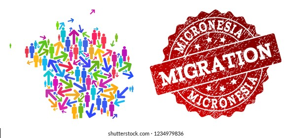 People migration traffic combination of mosaic map of Micronesia island and corroded seal stamp. Mosaic map of Micronesia island is constructed with different bright colored arrows and men.