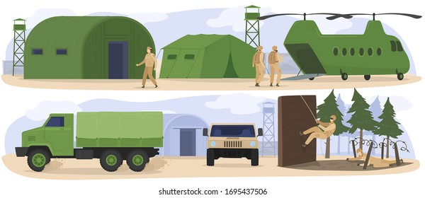 People in military base camp, soldiers training in army, boot camp exercises, vector illustration. Military transport, truck and helicopter, infantry soldiers in camouflage uniform. Tactical air base