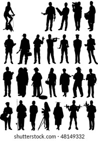 people mix silhouette vector