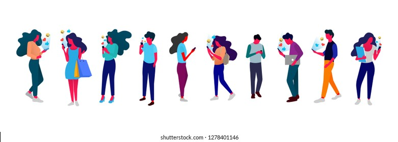 People with mobile phone. Big flat illustration set - Vector