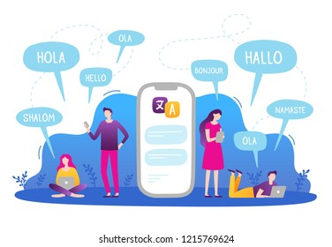 People with mobile phones and laptops talking in different languages using translation app