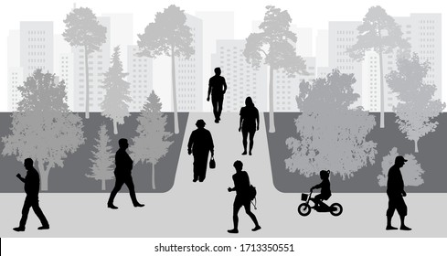 People move in park, urban life, silhouettes. Vector illustration.