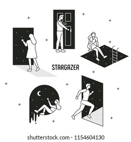 People moving to the door of another dimension. Black and white monotone outline style character. flat design style vector graphic illustration set