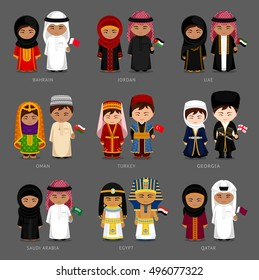 People in national dress. Bahrain, Jordan, UAE, Oman, Turkey, Georgia, Saudi Arabia, Egypt, Qatar. Set of pairs dressed in traditional costume. National clothes. Vector illustration.