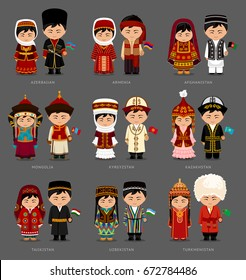 People in national dress. Mongolia, Kazakhstan, Kyrgyzstan, Azerbaijan, Armenia, Afghanistan, Uzbekistan, Turkmenistan, Tajikistan. Set of pairs dressed in traditional costume. Vector illustration.