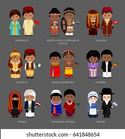 People in national dress. Morocco, Tunisia, Kenya (Samburu), Tanzania (Masai), South Africa (Zulu), Uganda, Yemen, Israel. Set of pairs dressed in traditional costume. Vector flat illustration.
