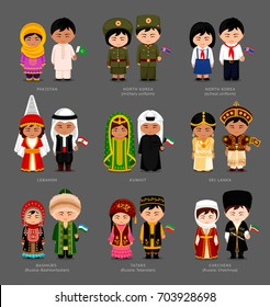 People in national dress. Pakistanis, Kuwaitis, North Koreans, Lebanese, Sri Lankans, Tatars, Bashkirs, Chechens. Set of pairs dressed in traditional costumes with flags. Vector flat illustration.