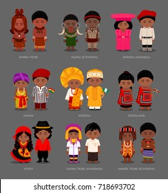 People in national dress. Swazilanders, Nigerians, Ghanaian. Hamer, Kayan, Himba, Mursi tribe, Herero. Gypsies. Set of pairs dressed in traditional costumes with flags. Vector flat illustration.