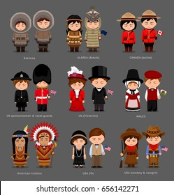 People in national dress. United Kingdom, Canada, United States of America (USA). Eskimos, Aleuts, American Indians. Set of pairs dressed in traditional costume.Vector flat illustration.
